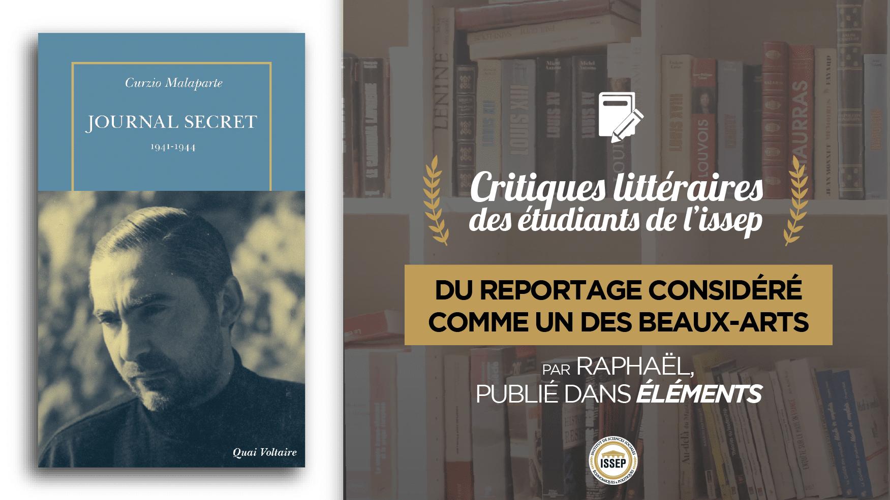 """Critique littéraire de """"Journal secret 1941-1944"""" de Curzio Malaparte par Raphaël, étudiant de l'ISSEP publié dans Éléments"""