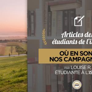 Article des étudiants : où en sont nos campagnes ?