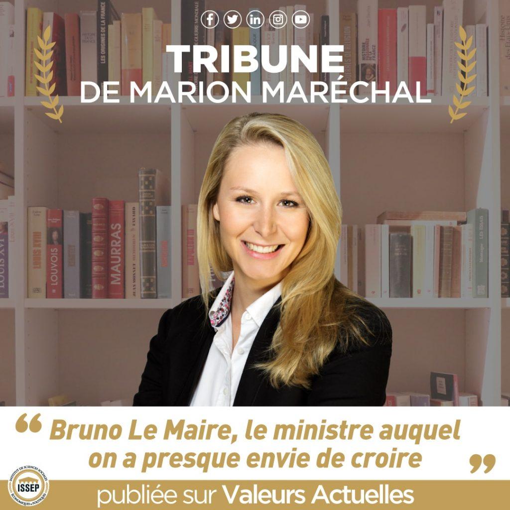 Tribune de marion maréchal Valeurs actuelles Bruno Le Maire