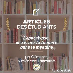 Article des étudiants | L'Apocalypse, discerner la lumière dans le mystère
