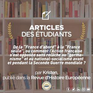 """Article des étudiants   De la """"France d'abord"""" à la """"France seule"""""""